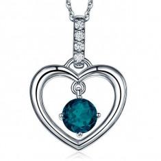 Pandantiv Borealy Aur Alb 14 K Topaz Natural London Blue Heart