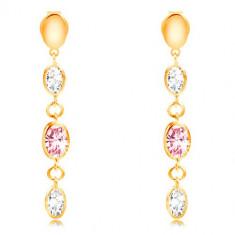 Cercei lungi din aur de 14K - ovale și zirconii transparente și roz