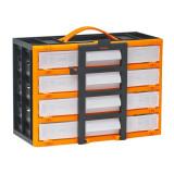 Cutie de depozitare cu sertare, portabila 310x165x220mm, 2 sertare cu 4 celule fixe + 2 sertare cu 6 celule fixe