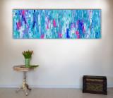 Tablou abstract mare texturat reliefat 150x60x2 cm pictura abstracta colorata
