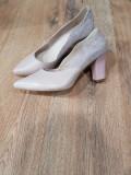 Superbi pantofi dama noi piele naturala integral foarte comozi 39, Rose, Cu toc