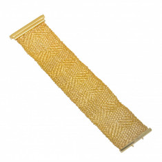 Bratara din aur galben 14 K, lata, model cu fir impletit, L 17.5 cm, BTAU11