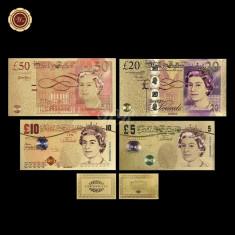 A2858 Anglia UK 5 10 20 50 pounds Fantezie Aurita Aur Gold 24K