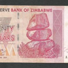 ZIMBABWE  20  DOLARI  DOLLARS   2007  [2]  P-68  ,  XF