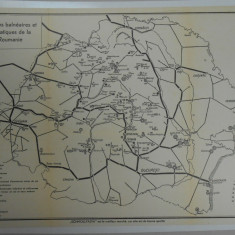 Harta statiuni balneare Romania Mare 1925, lb. franceza, impecabila, 28x36 cm
