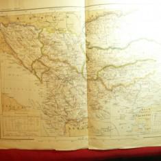 Harta Balcanilor -cca.1901 , dim.= 41x30cm ,mici reparatii