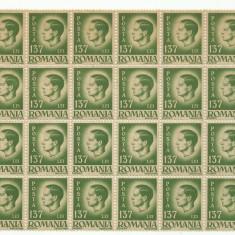 ROMANIA MNH 1945 - Uzuale Mihai I - fragment coala 137 L - 24 timbre