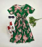 Rochie dama ieftina verde de zi midi cu pliuri si imprimeu flori roz