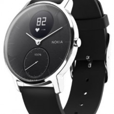 Ceas activity tracker Nokia Withings Steel HR (36mm), Rezistent la apa, Bluetooth (Negru/Argintiu)