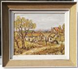 Tamara Motiu 1983 Tablou Peisaj din Mahala pictura in ulei 52x60cm