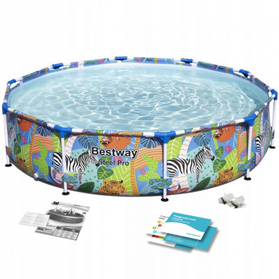 Piscina cu Cadru Metalic Rotund 4 in 1, Imprimeu Animale, Bestway, 305x66 cm, Capacitate 4062 litri foto