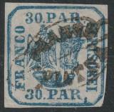 """ROMANIA 1862 PRINCIPATELE UNITE I, 30par. """"FRANCO/PIATRA"""", L.P 10. SUPERB !, Stampilat"""