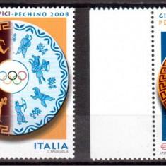 ITALIA 2008, J.O. de vara Beijing, Sport, serie neuzată, MNH, Nestampilat