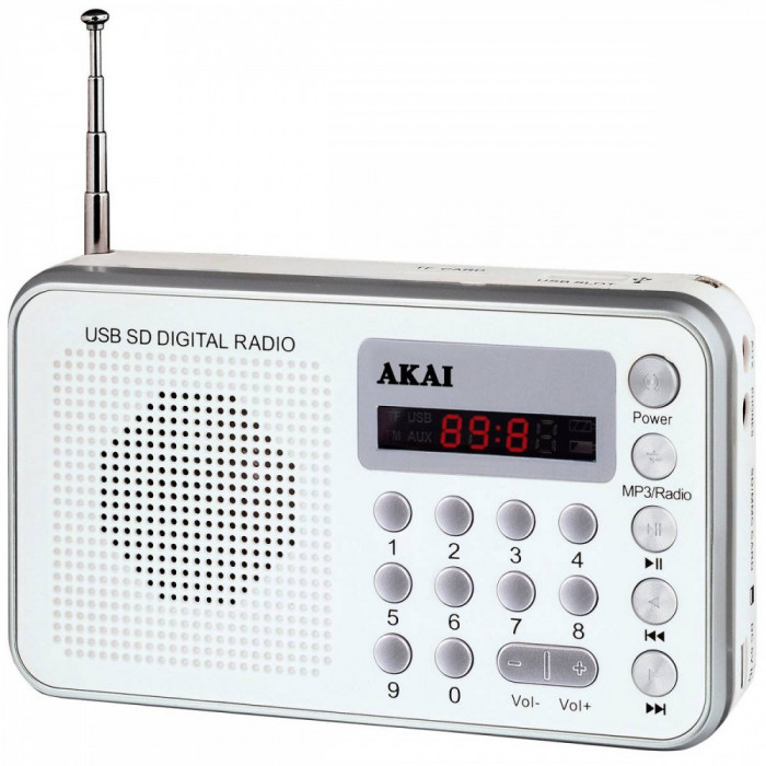 Radio portabil Akai DR002A-521 USB 1.3W White