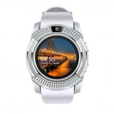 Ceas Smartwatch Techstar® V8, Handsfree, Bluetooth 3.0, SIM, Compatibil Android & iOS, Camera 1.3MP, Alb