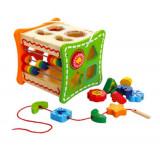 Cumpara ieftin Cub educativ din lemn cu activitati 5 in 1, Oem