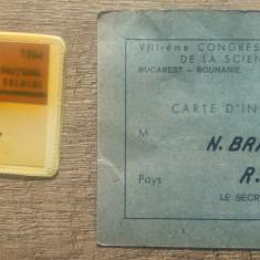 Al VIII-lea Congres International de Stiinta Solului/ecuson, invitatie, carte ID