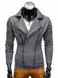 Jacheta pentru barbati slim fit inchidere laterala gri B699