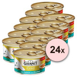 Conservă Gourmet GOLD - bucăți de somon și pui în sos 24 x 85g, 17+7 GRATUIT