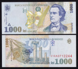 Romania, 1000 lei 1998 UNC_filigran BNR mare oblic_serie 010A0712243