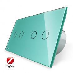 Intrerupator dublu + dublu cu touch Livolo din sticla, Protocol ZigBee, Control de pe telefon SafetyGuard Surveillance