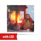 Tablou de Craciun cu Iluminare LED, Candela cu Turta, Baterii 2xAA, 30x30cm