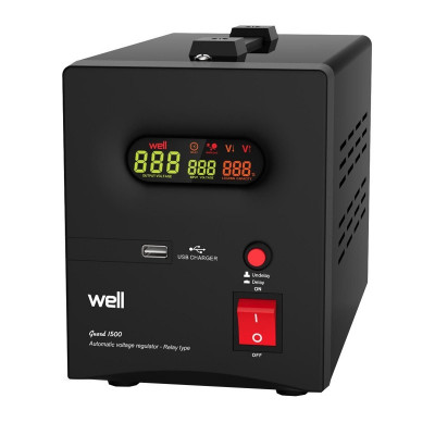 Stabilizator automat de tensiune cu releu Well, 500VA/300W foto