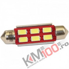 Bec LED SOFIT 42MM 6 SMD 5730 12V ALBASTRU CANBUS COD: PT81