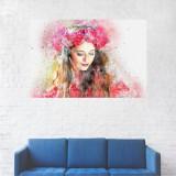 Tablou Canvas, Portret Roz, Fata cu flori in par - 20 x 30 cm
