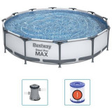 Piscina cu cadru metalic si pompa de filtrare, Steel Pro Max Gri, Ø366xH76 cm