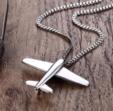 Lant otel barbati cu pandantiv avion argintiu MyStyle