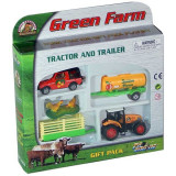 Jucarie Set tractor cu remorca, cisterna si jeep