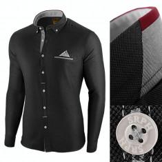 Camasa pentru barbati, neagra, slim fit - Leon Classic, 3XL, L, M, S, XL, XXL