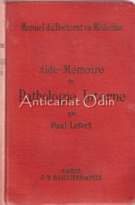 Aide-Memoire De Pathologie Interne - Paul Lefert