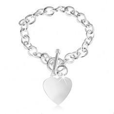 Brăţară din argint 925, verigi ovale, inimă plată şi lucioasă