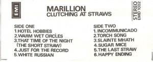Caseta Marillion - Clutching At Straws , originala