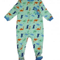 Salopeta / Pijama bebe cu dinozauri Z113, 1-2 ani, 12-18 luni, Verde