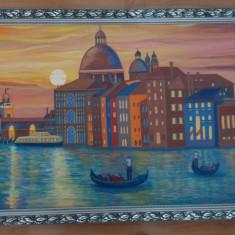 Tablou unicat,in ulei pe panza 64x84 cm, Apus de soare in Venetia, rama lemn