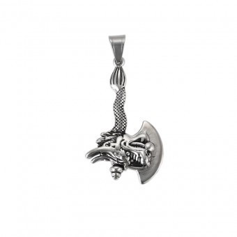 Lant inox pandantiv topor cap de dragon