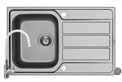 Pachet chiuveta ATHENA 79x50 1B 1D LN + Baterie White FLESSI Pyramis Grey foto