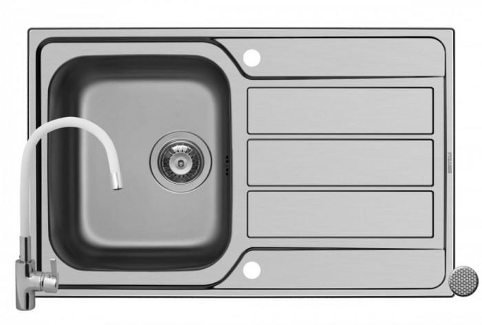Pachet chiuveta ATHENA 79x50 1B 1D LN + Baterie White FLESSI Pyramis Grey