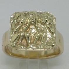 Inel Aur Raritate Trei Maimute Aur 14K