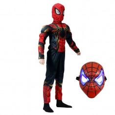Set costum Iron Spiderman cu muschi, Homecoming pentru copii, S, 3 - 5 ani, masca cu lumini inclusa