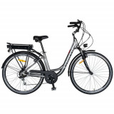 Bicicleta electrica CARPAT C1010E, roti 28inch, cadru aluminiu, frane V-Brake, transmisie SHIMANO 7 viteze, motor 250W (Gri/Alb)