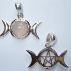 Pandantiv argint Fazele lunii cu pentagrama - cuart roz