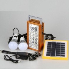 Kit Solar panou 2.5W USB+Lanterna + 2 becuri led + Acumulator 4V 2.5A