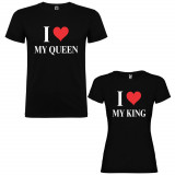 Set 2 Tricouri cuplu I love My Queen si I love My King, negru/alb