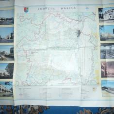 Harta fizico administrativa Judet Braila cu ilustratii ,dim.=85x62cm