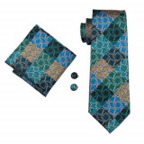 Set cravata matase butoni batista model B+cutie cadou, Multicolor, Negru, Orange, Roz, Verde
