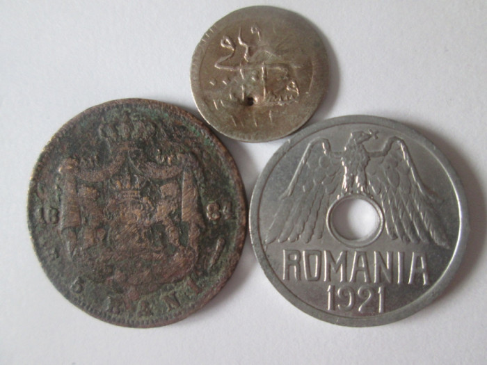 Lot 3 monede colectie:Romania(5 Bani 1884,50 Bani 1921)+1 Kurus Imperiul Otoman